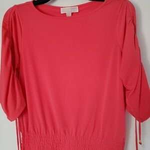 Michael Kors  blouse coral pink rolling sleeve